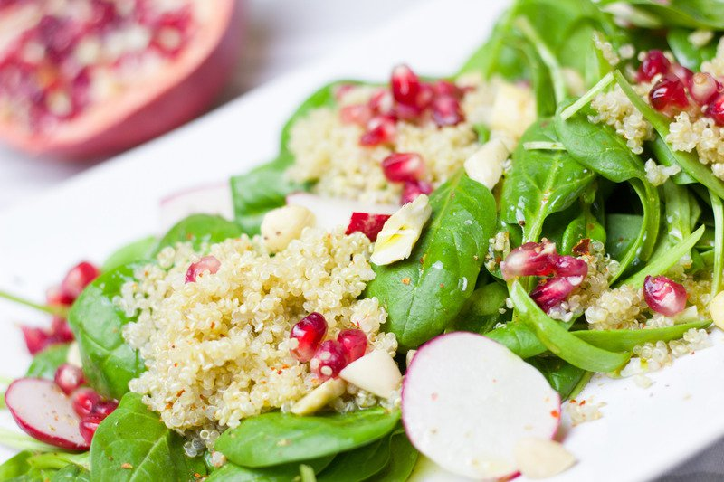 Spinach Pomegranate Freekeh
